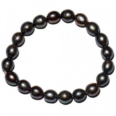 Biwa perlearmb�nd av 8 mm svarte perler